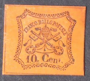 Briefmarke Vatikan 1867 10 cent Vatica10