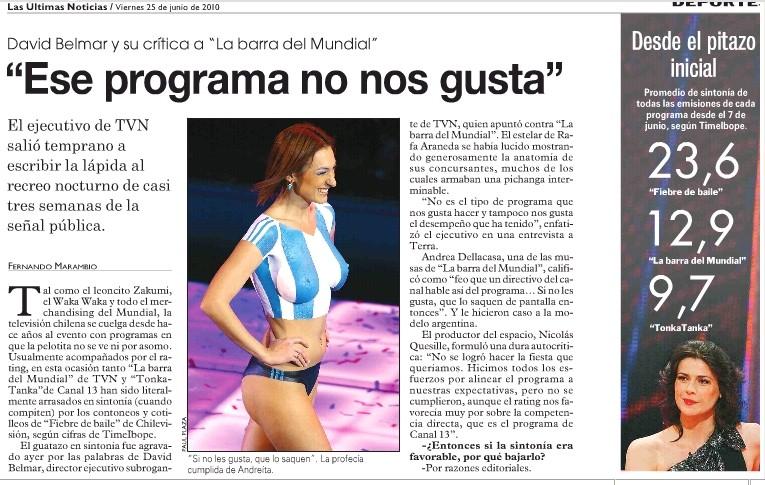 """[Abrupto final de La Barra del Mundial] Dir. Ejecutivo Subrogante de TVN: """"Ese programa no nos gusta"""" Nuevo-13"""