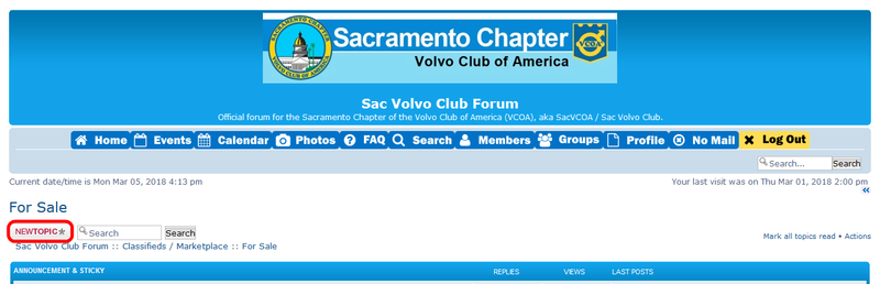 classified - FAQ: How to Post Classifed Ads to Sac Volvo Club Forum & Where to Find Resources for Buying/Selling Sacvco26