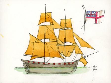 Le Dragon du chevalier de L'Espine : du Cutter anglais à la corvette française. Aqua_d11