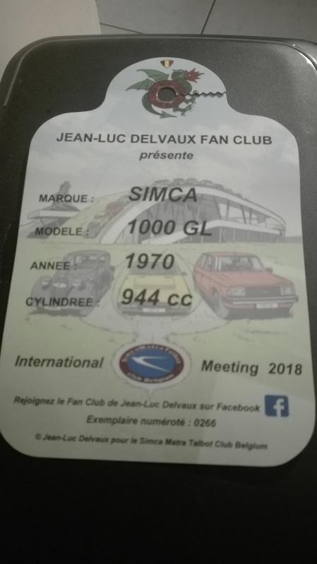INTERNATIONAL 2018 SIMCA MEETING BELGIQUE  du 10 au 13 mai  - Page 3 Plaque10