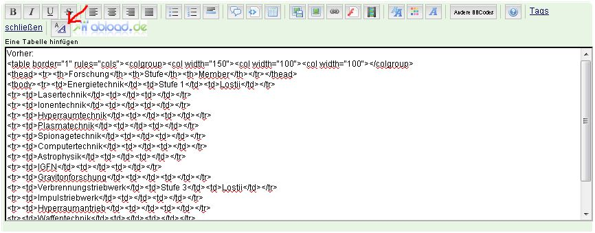 HTML Tabelle nach unten verschoben A11a10