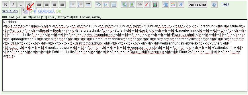 HTML Tabelle nach unten verschoben A12a10