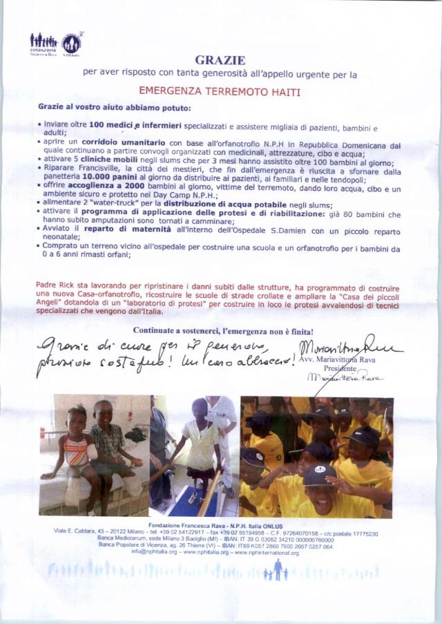 PASSIONE KENYA E FONDAZIONE FRANCESCA RAVA: un aiuto alla popolazione di Haiti Fondaz12