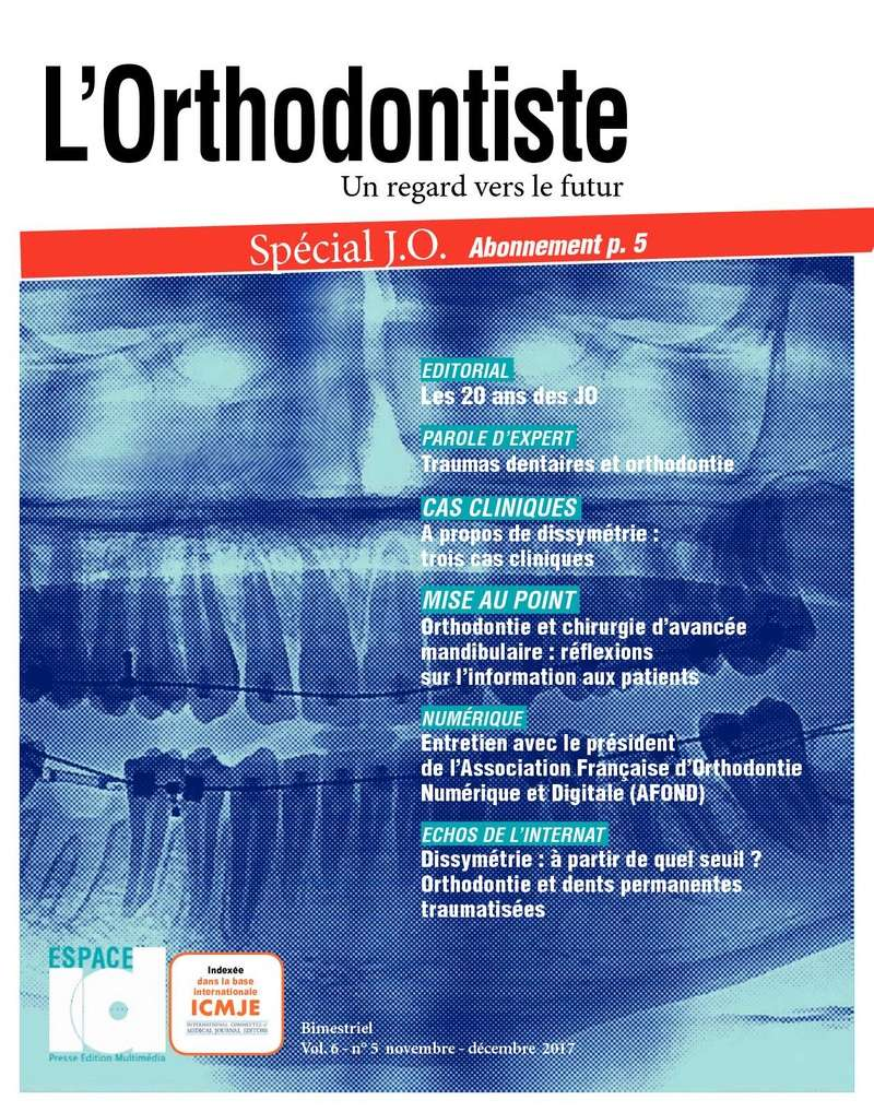 L'orthodontiste Novembre - décembre 2017 P110