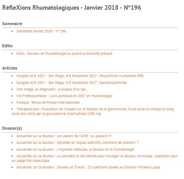 RéfleXions Rhumatologiques - Actualités sur la douleur  - Janvier 2018 - N°196 Sans_t10
