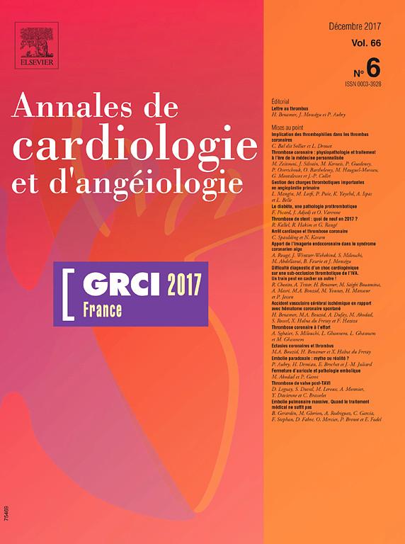 Annales de Cardiologie et d'Angéiologie Décembre 2017  X0003310