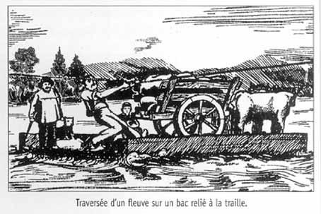CPA avant les ponts suspendus de Marc Seguin, les bacs à traille Bac-a-10