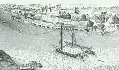 CPA avant les ponts suspendus de Marc Seguin, les bacs à traille Bac_pe10