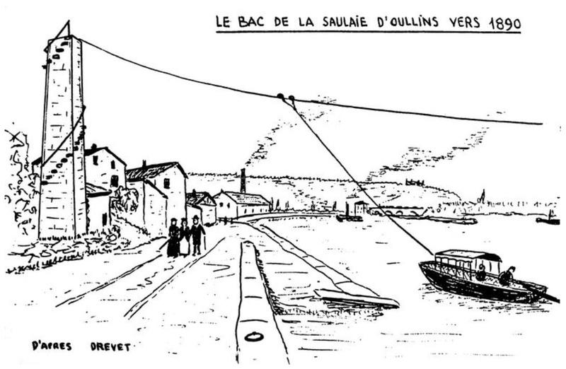 CPA avant les ponts suspendus de Marc Seguin, les bacs à traille Oullin10