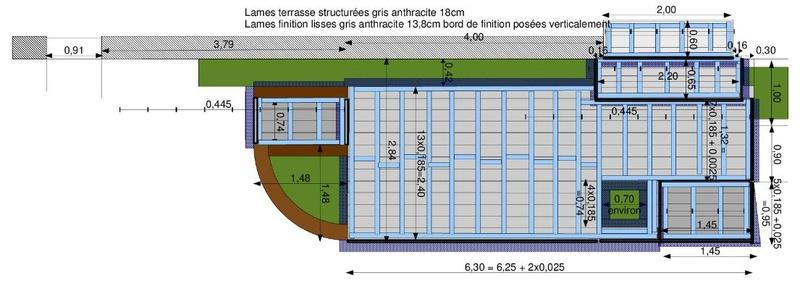 La nouvelle baie vitrée nous impose de créer une terrasse (en bois composite) Terras12