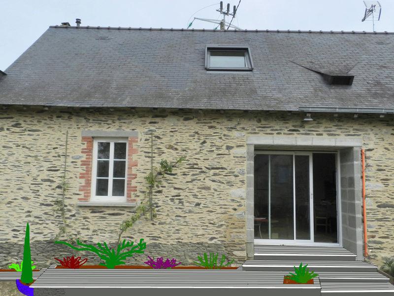 La nouvelle baie vitrée nous impose de créer une terrasse (en bois composite) Terras13
