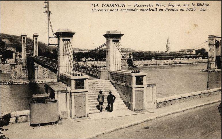 Vieux papiers et CPA : les ponts suspendus de Marc Seguin Tourno13
