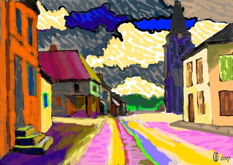 Et si Van Gogh était venu lui-aussi à La Bazouge? (Collages et pastiches) Y_190610