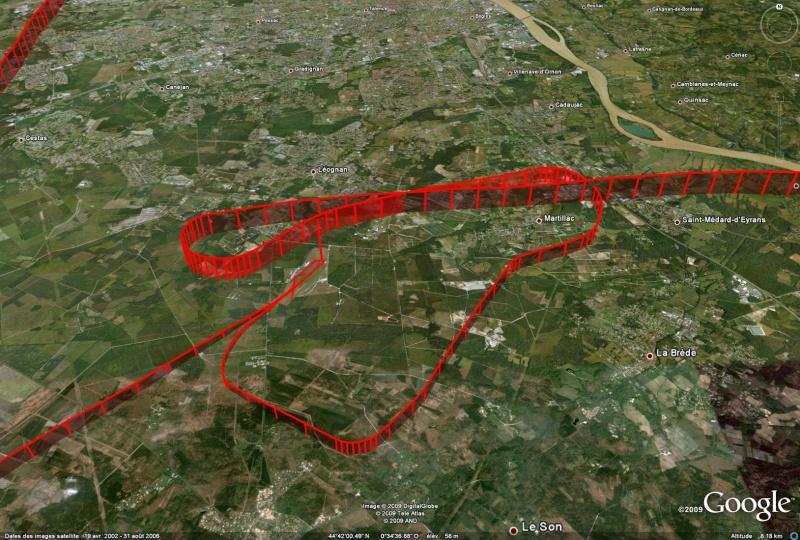 Google earth / Tracé de vol F-glds10