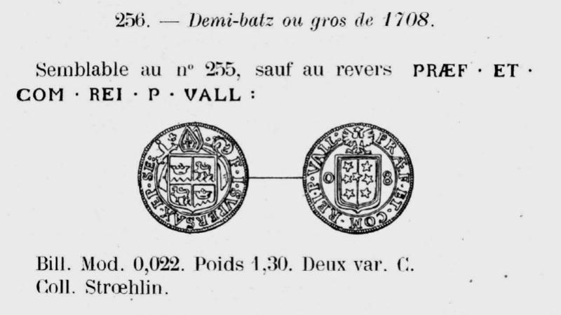 Demi-Batz 1708, Evêché de Sion (Suisse) François-Joseph Supersaxo ... Demi-b10