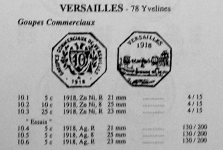 """Monnaie nécessité 10Cts """"Versailles 1918"""" ... Elie_v10"""