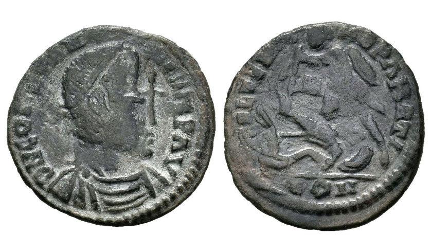 Contramarca de Cruz en un AE3 de Constancio II FEL TEMP REPARATIO - Arles Descar10