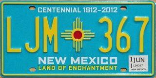 """Recherche plaque US """"New Mexico"""" avec fond turquoise (Trouvée) Nm11"""