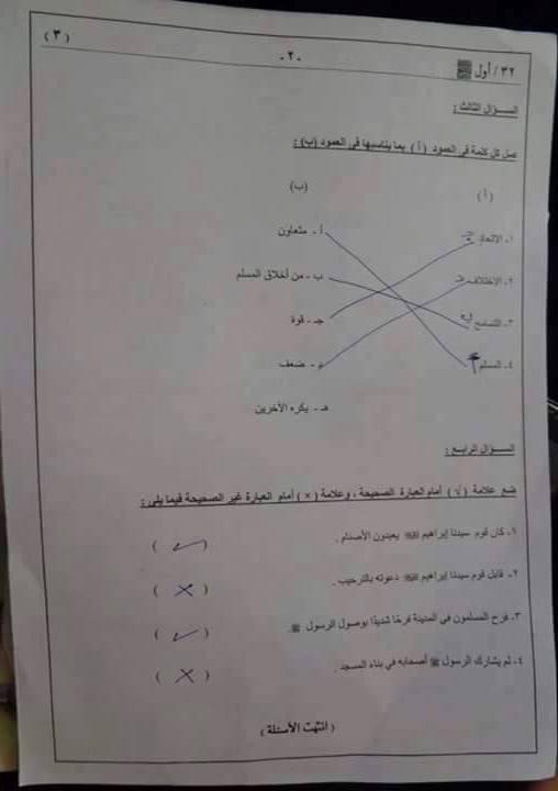 امتحانات الصف الثالث الابتدائى ابناؤنا فى الخارج السعودية 2017  910