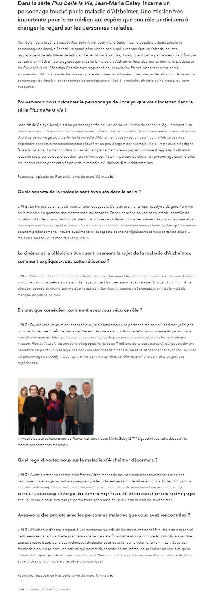 Interviews des comédiens et équipes - Page 2 Jocely23