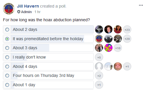 PLANNING THE ABDUCTION HOAX. Was it done over four days, or four hours? Poll10