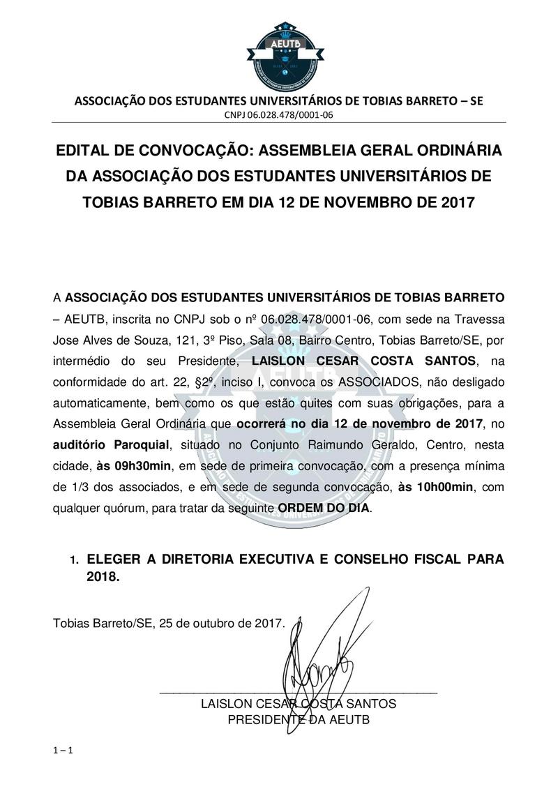 EDITAL DE CONVOCAÇÃO ASSEMBLEIA ORDINÁRIA ELEIÇÕES 2018 Edital10