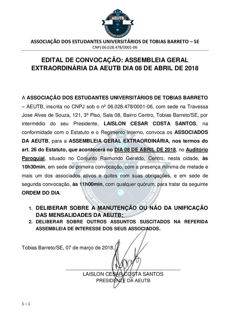 EDITAL DE CONVOCAÇÃO ASSEMBLEIA EXTRAORDINÁRIA 08 DE MARÇO DE 2018 Edital14