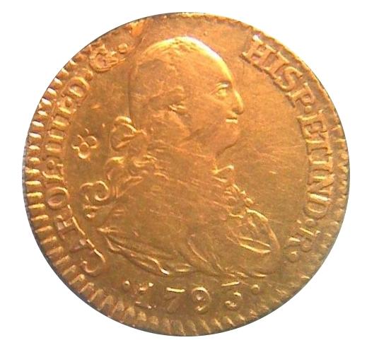 """1 escudo carlos IV (1793) """"resello flor de lis"""" Anv1010"""