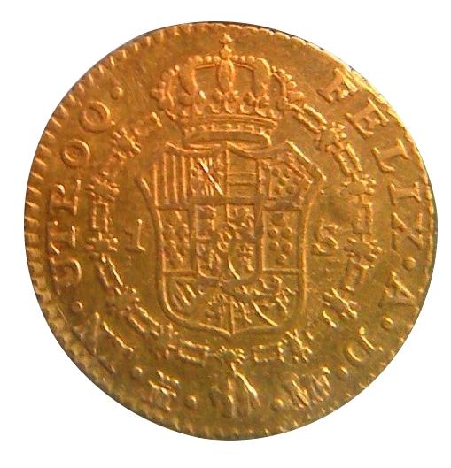 "1 escudo carlos IV (1793) ""resello flor de lis"" Rev1010"
