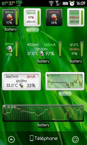 [WIDGET] BATTERY MONITOR : Widget affichant la capacité batterie, le voltage, la température etc [Gratuit/Payant] Screen36