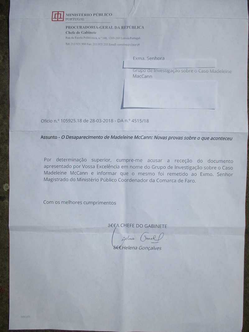 Portuguese Attorney-General passes MMRG 'Death on Sunday 29 April 2007' evidence to PJ in Faro for action Letter10