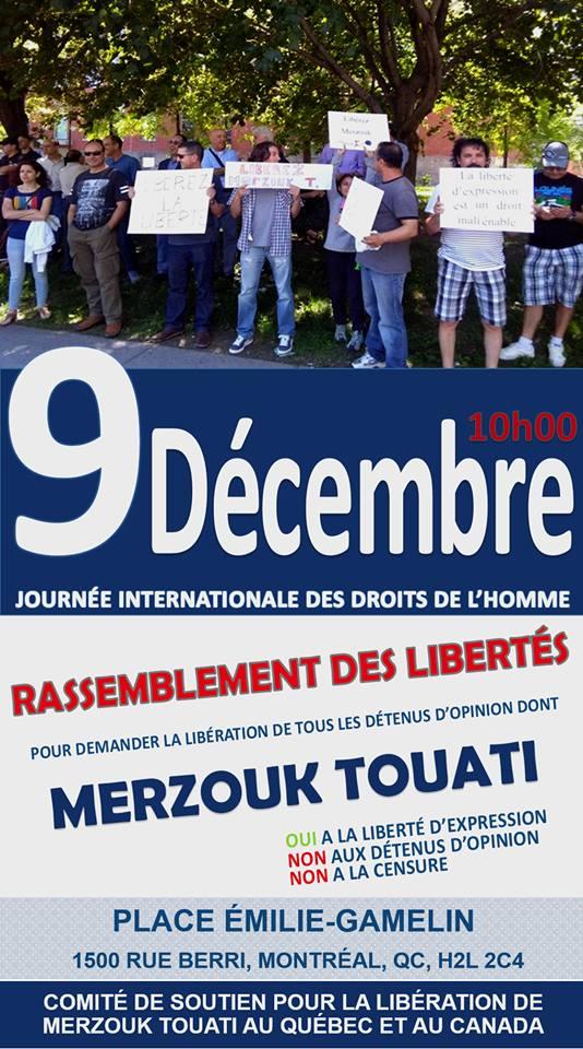 Rassemblement pour la libération de tous les détenus d'opinion à Montréal  le dimanche 09 décembre 2018 10519