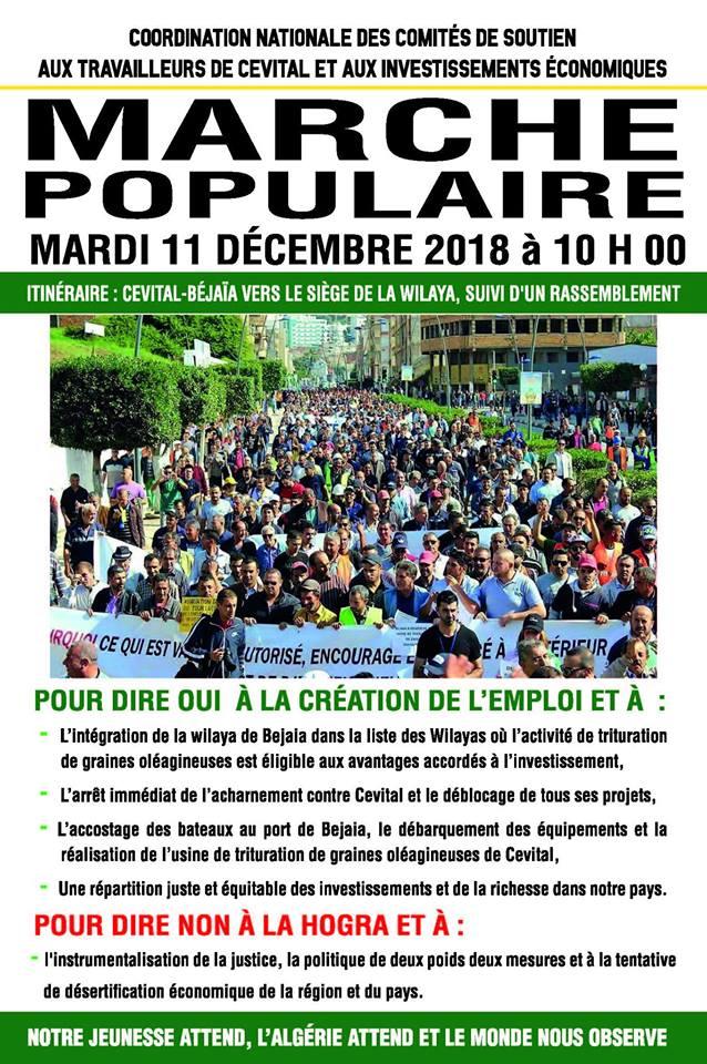 Marche populaire le Mardi 11 Décembre 2018, à Bèjaia, contre le blocage de Cevital ! 10522