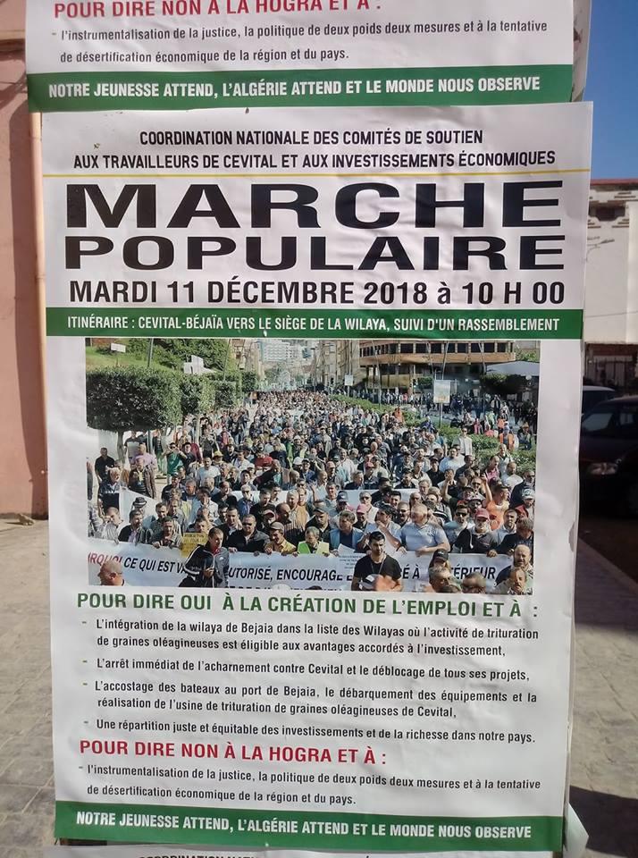 Marche populaire le Mardi 11 Décembre 2018, à Bèjaia, contre le blocage de Cevital ! 10524