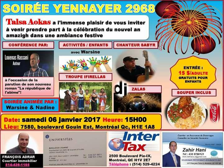 Yennayer 2968 avec Talsa Aokas à Montréal 1822