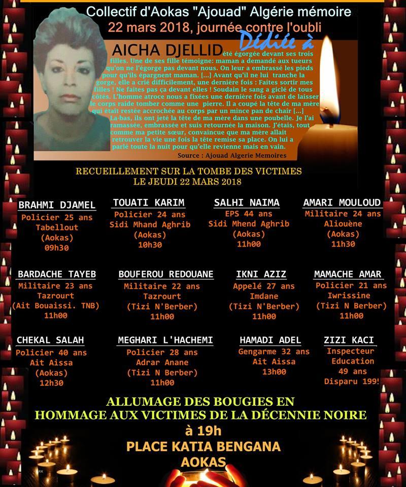 """Le collectif d'Aokas- """"Ajouad"""" Algérie Mémoires: 22 mars 2018, journée contre l'oubli Oubli10"""