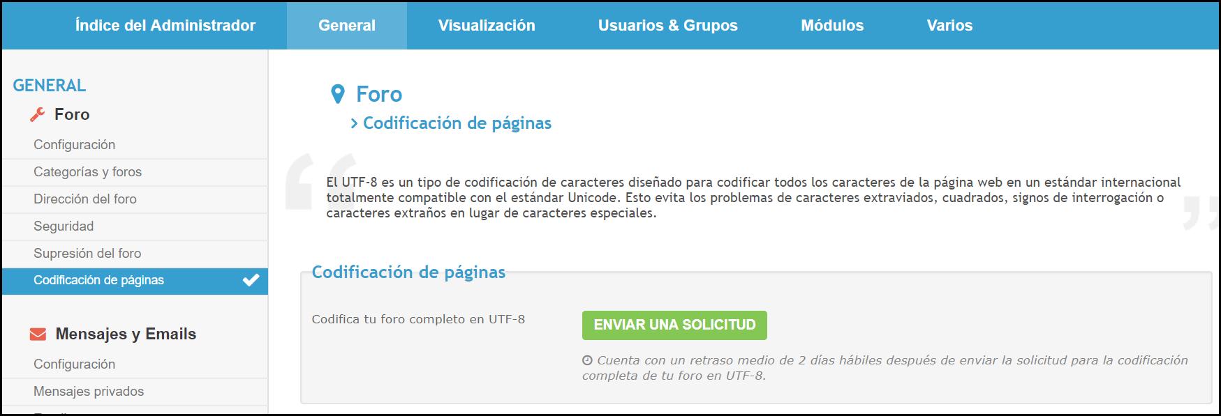 Novedad: Posibilidad de codificar tu foro en UTF-8 2018-015