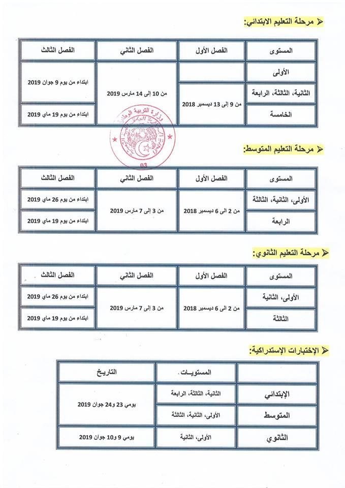 رزنامة الإختبارات الفصلية للسنة الدراسية 2019/2018 للمراحل التعليمية الثلاثة 11110