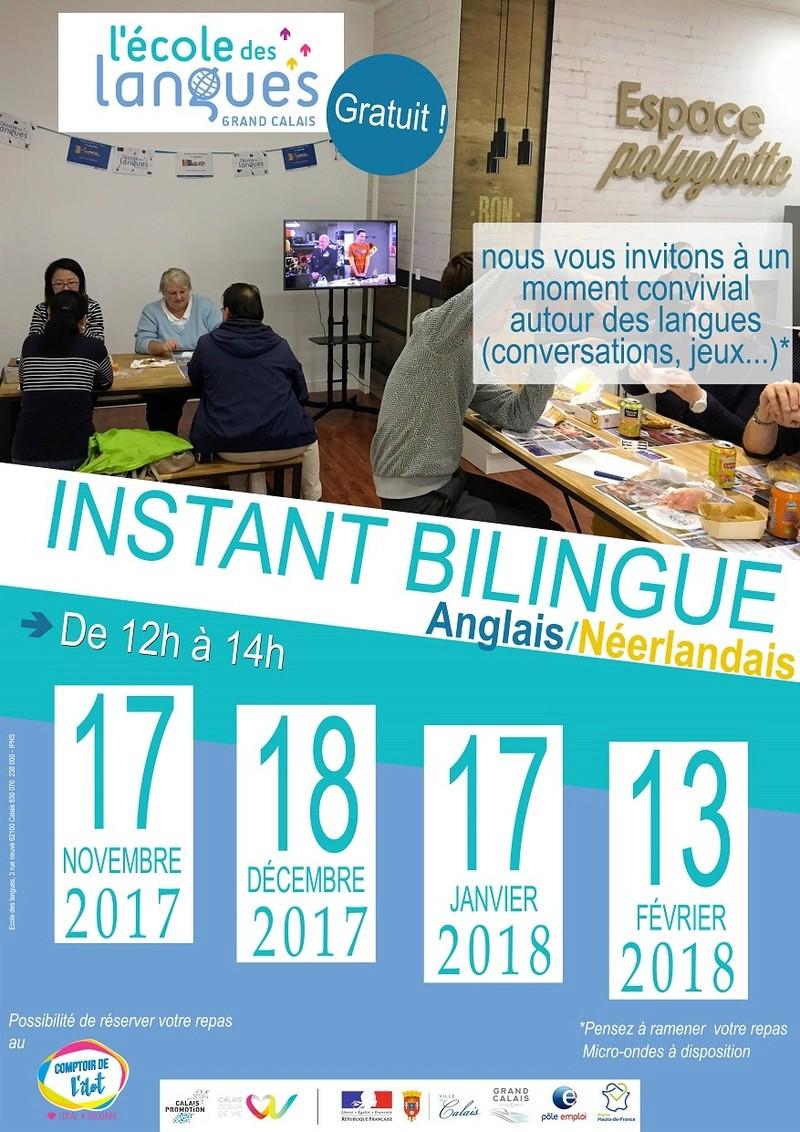 """L'école des langues de Calais nous invite à un instant bilingue autour d'un """"Potluck"""" Affich10"""