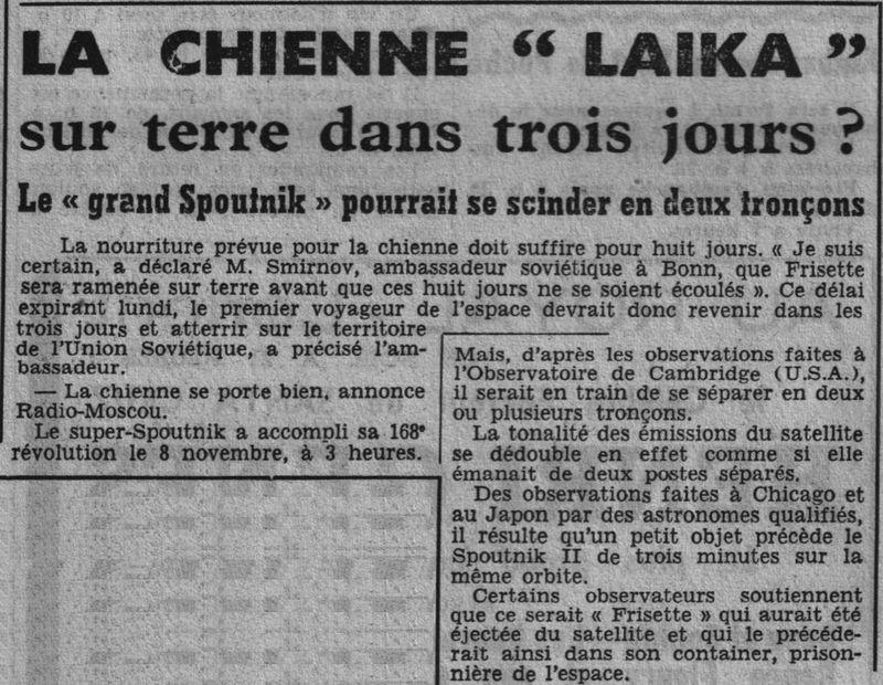 3 novembre 1957 - Spoutnik 2 - Laïka - 1er sacrifié spatial 57110910