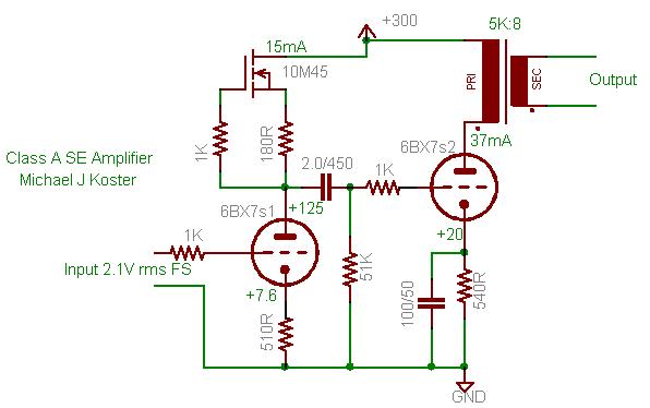 Amplificateur spud avec redressement à tube 6bx7sp10