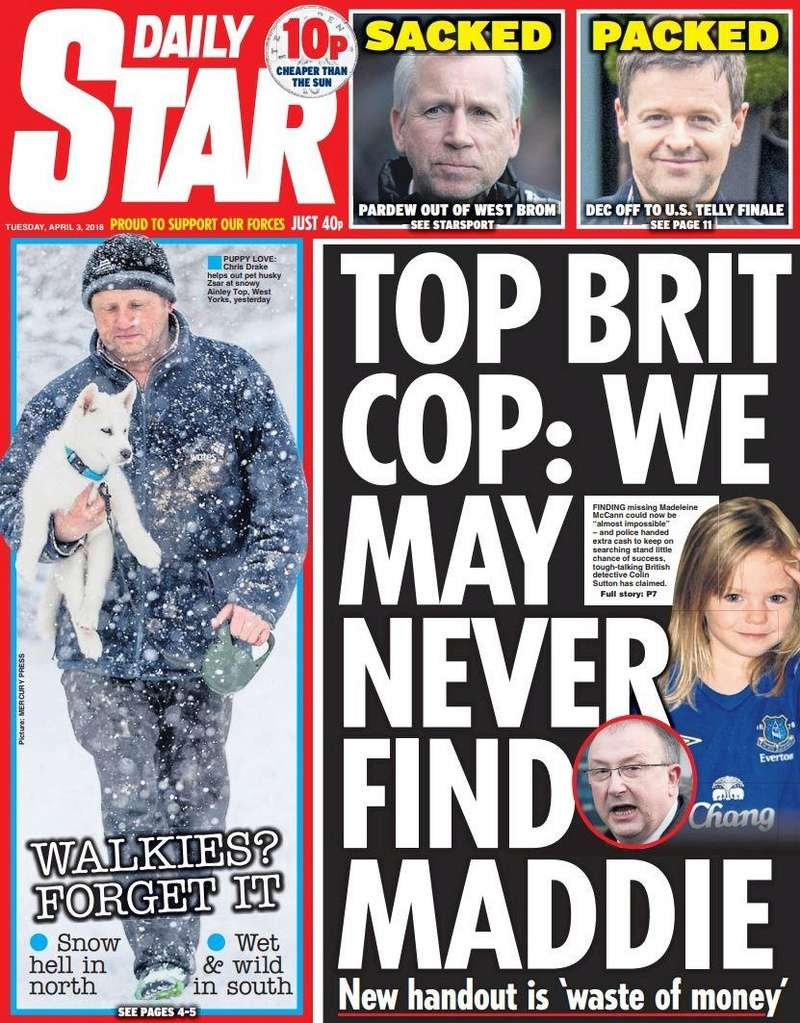 Colin Sutton sounds off again: This time says: 'Finding Madeleine is nearly impossible' - DAILY STAR, 3 April 2018   Star_a10