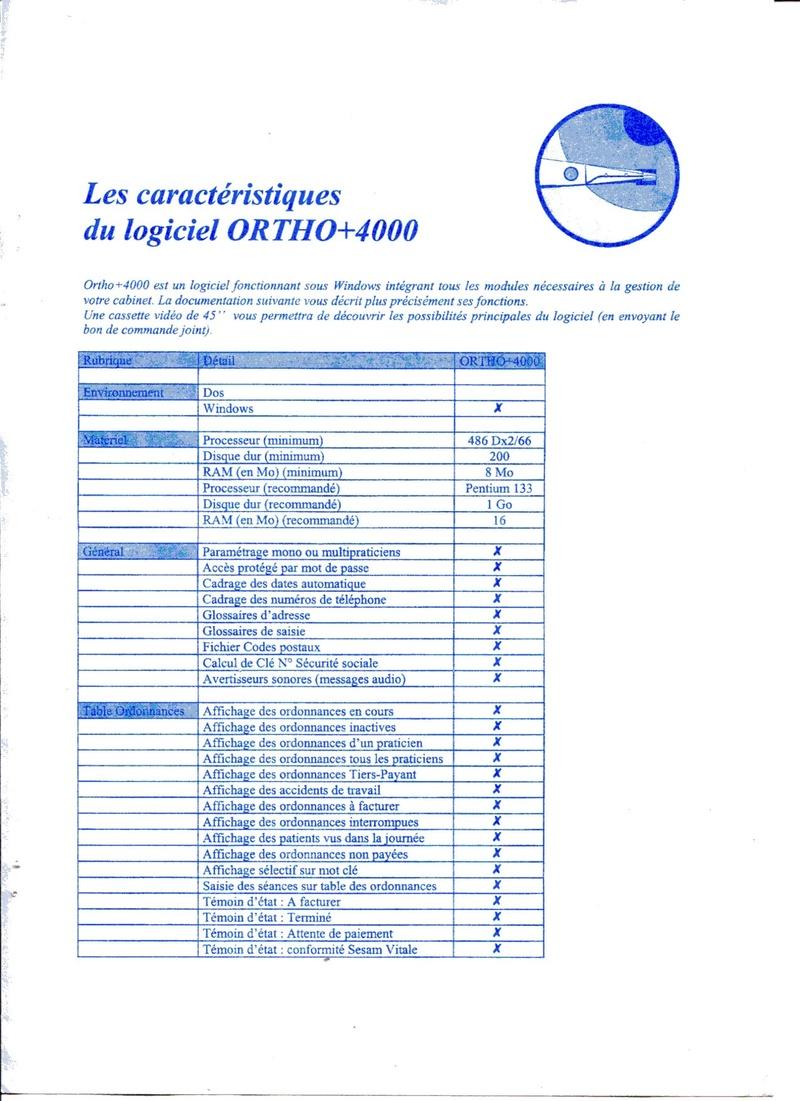 Caractéristiques d'Ortho+4000 il y a 20 ans Rmi10