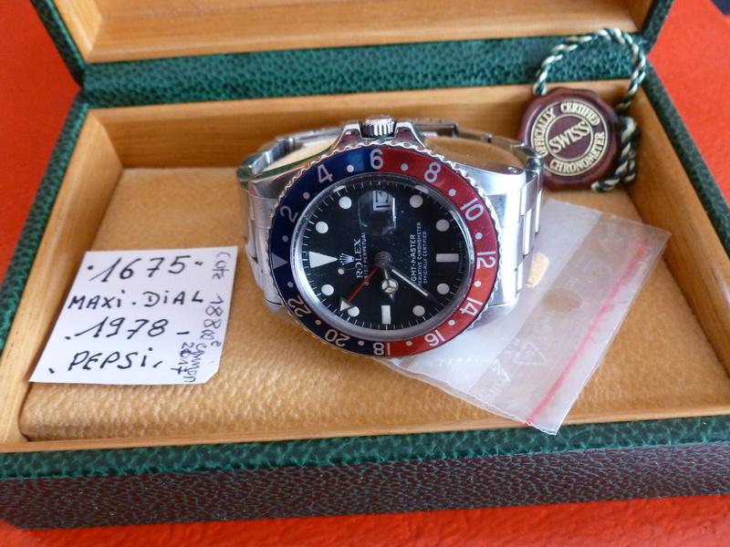 Montre vendue à regret pour projet autre - Rare Rolex GMT 1675 Maxi Dial - Boîte - Papier Expert Rolex reconnu- Possible échange étudie proposition équitable seulement sur Rolex Daytona acier ou Patek Philippe 00110