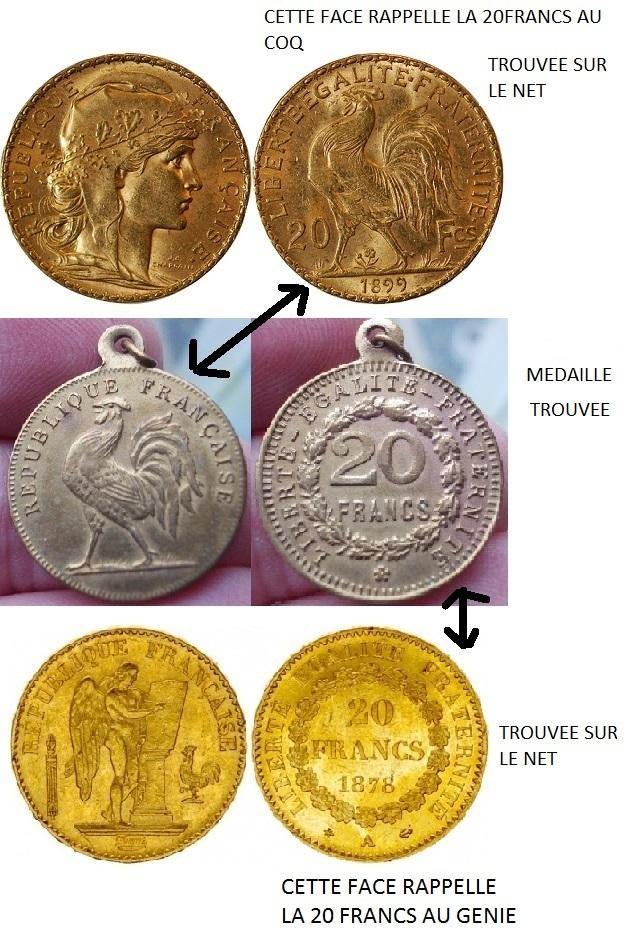 étrange médaille 20 francs  au coq Marian11