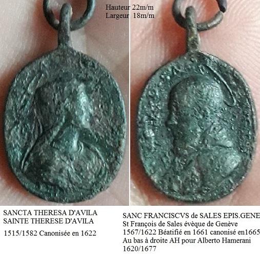 Médaille St François de Sales, ste Thérèse d'Avila XVIII ém Ste_th11