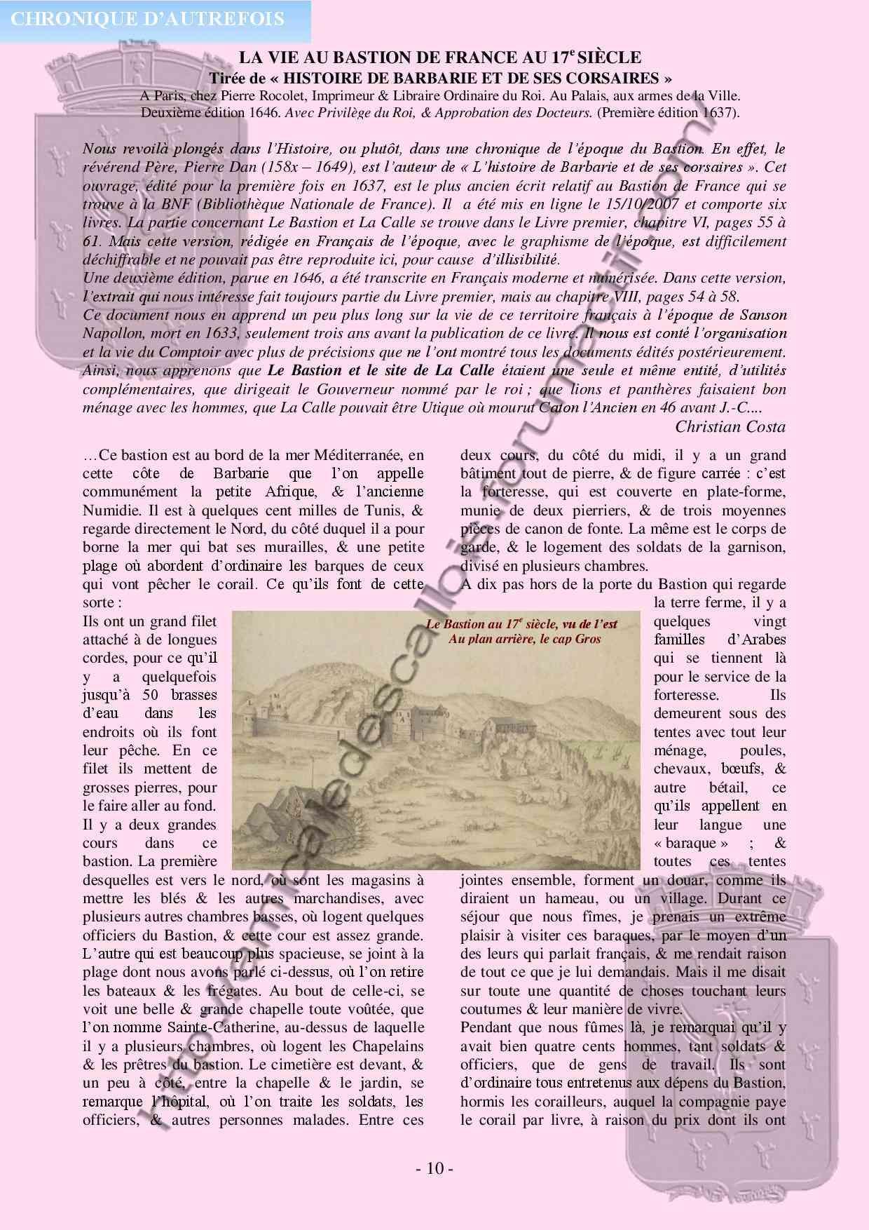 La vie au Bastion de France au XVII - COSTA Christian - PC 133 La_vie10