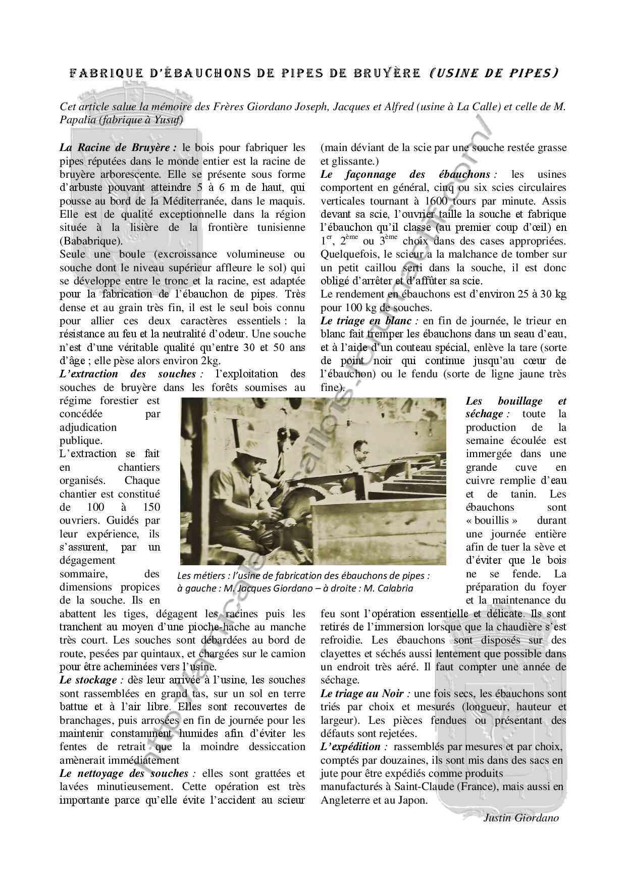 La fabrique de pipes -Vie économique- Justin GIORDANO -Livre-  Livre_12