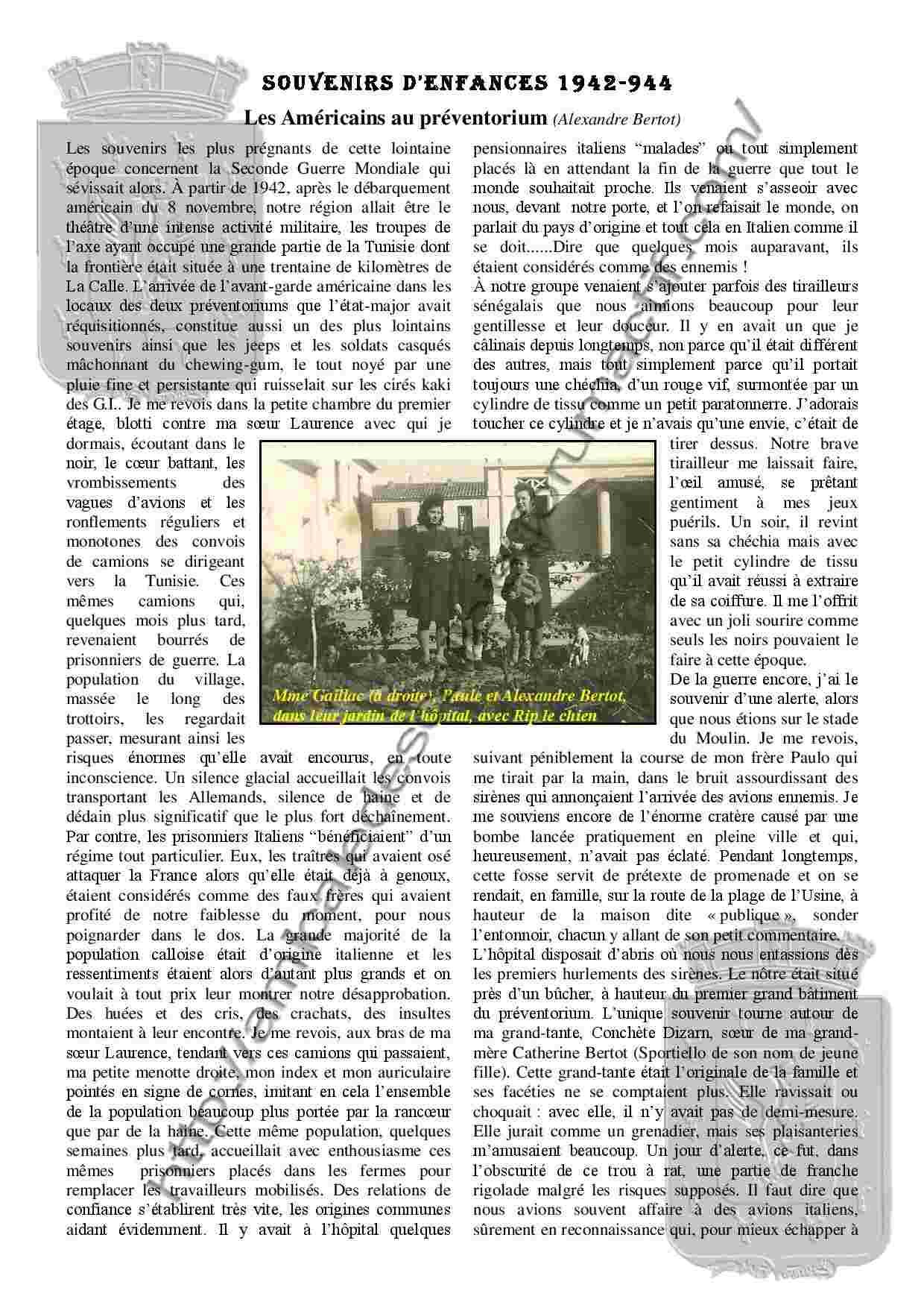 Souvenirs et chroniques Les Américains au préventorium - PC138 - Alexandre Bertot Souven12